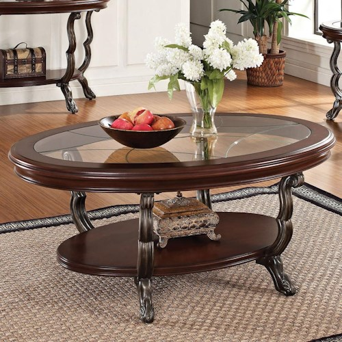 Acme Furniture Bavol Coffee Table with Tempered Glass Top and Pad Feet