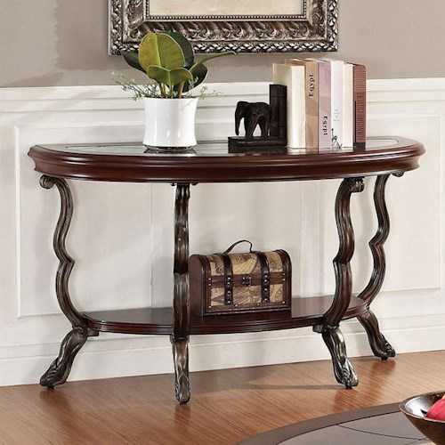 Acme Furniture Bavol Sofa Table with Tempered Glass Top and Shelf
