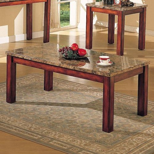 Acme Furniture Bologna Brown Marble Coffee Table with Wood Block Legs