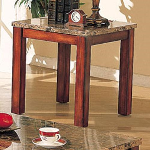 Acme Furniture Bologna Brown Marble End Table with Wood Block Legs