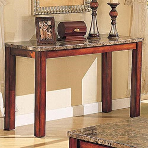 Acme Furniture Bologna Brown Marble Sofa Table with Wood Block Legs