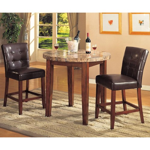 Acme Furniture Bologna Counter Height Marble Table and Chairs Set