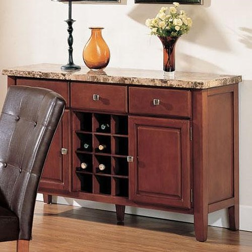 Acme Furniture Bologna 3 Drawer Marble Top Sideboard with Built-In Wine Storage