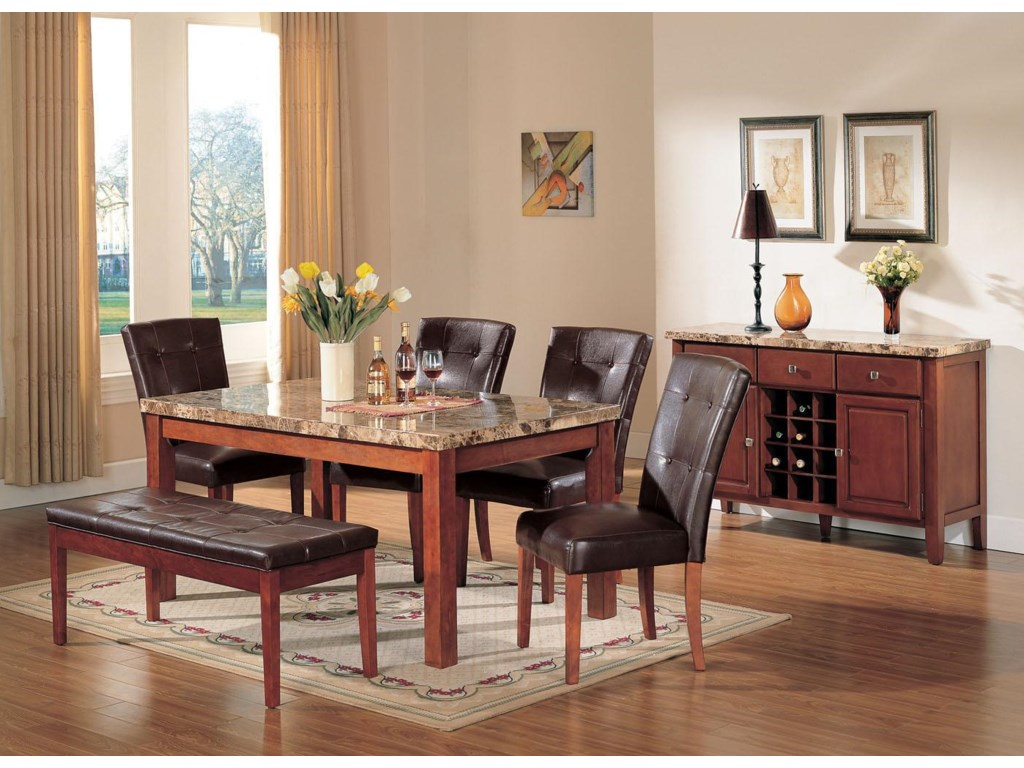 Shown with Dining Table, Side Chair, and Bench.