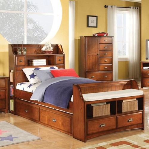 Acme Furniture Brandon Full Bed with Trundle and Bookcase Headboard and Footboards