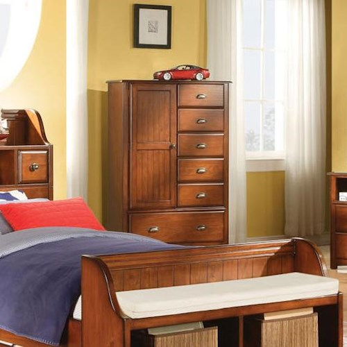 Acme Furniture Brandon Traditional Seven-Drawer Chest with Door