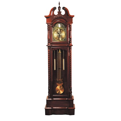 Acme Furniture Broadmoor Traditional Key-Wound Grandfather Clock with Bonnet Top and Urn Finial