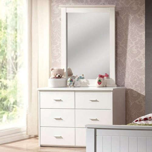 Acme Furniture Bungalow Casual Six Drawer Dresser and Mirror Set