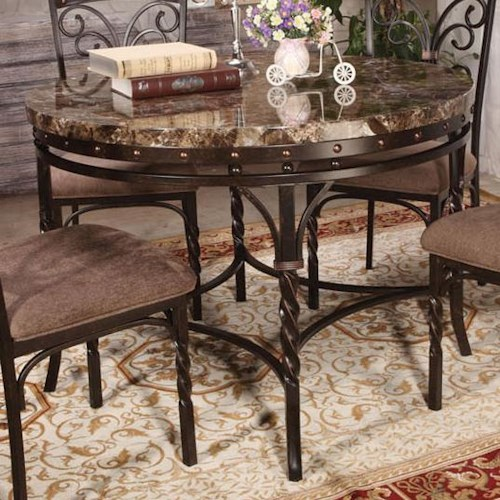 Acme Furniture Burril Dining Table with Twisted Leg Detail and Faux Marble Top