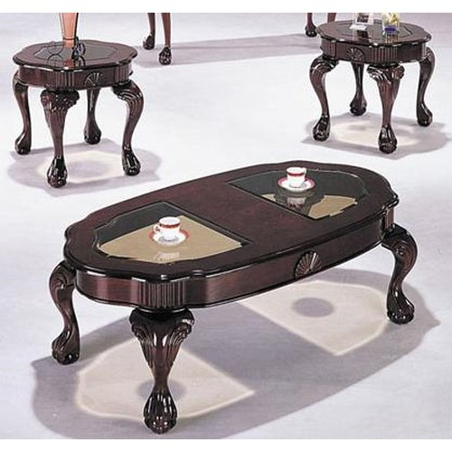 Acme Furniture Canebury Cherry 3-Piece Cocktail and End Table Set