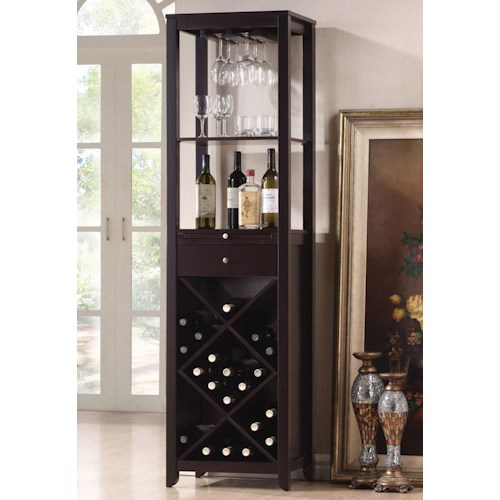 Acme Furniture Casey Wine Cabinet Tower with 2 Shelves