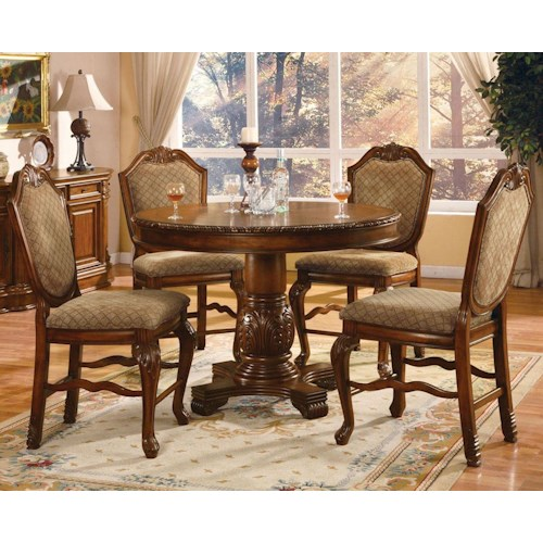 Acme Furniture Chateau De Ville 5 Piece Counter Height Dining Set with Fabric Upholstered Chairs