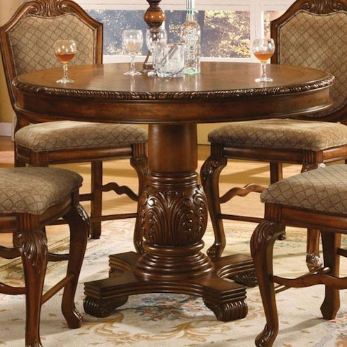 Acme Furniture Chateau De Ville Round Top Counter Height Table with Carved Pedestal Base