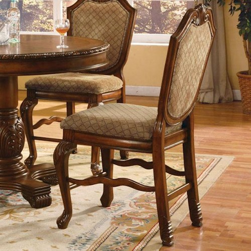 Acme Furniture Chateau De Ville Fabric Upholstered Shield Back Counter Height Dining Chair