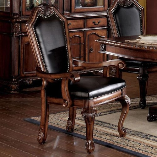 Acme Furniture Chateau De Ville Shield Back Dining Arm Chair With Faux Leather Seat And Back