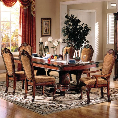 Acme Furniture Chateau De Ville 7 Piece Formal Dining Set with Fabric Upholstered Chairs