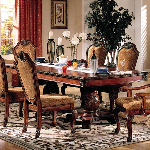 Acme Furniture Chateau De Ville Rectangle Double Pedestal Dining Table With Leaves