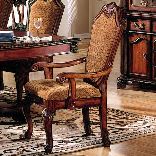 Acme Furniture Chateau De Ville Shield Back Dining Arm Chair With Fabric Seat And Back