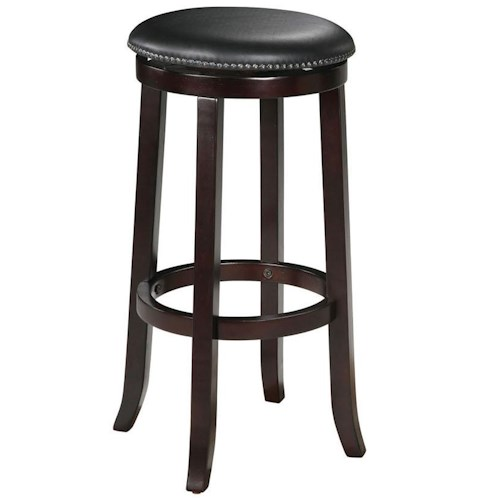 Acme Furniture Chelsea Transitional Upholstered Espresso Bar Stool with Nailhead Trim
