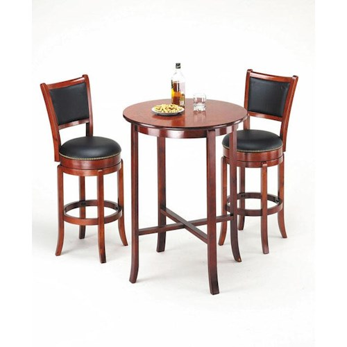 Acme Furniture Chelsea Transitional Oak Bar Set with Two Swivel Stools