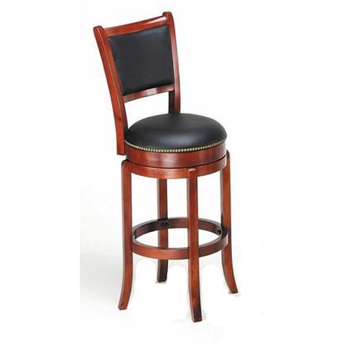 Acme Furniture Chelsea Transitional Oak Swivel Bar Chair with Nailhead Trim