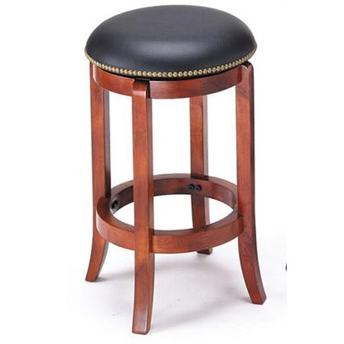 Acme Furniture Chelsea Transitional Upholstered Cherry Counter Stool with Nailhead Trim