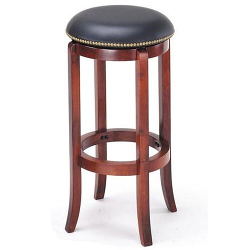 Acme Furniture Chelsea Transitional Upholstered Cherry Bar Stool with Nailhead Trim