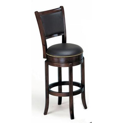 Acme Furniture Chelsea Transitional Espresso Swivel Bar Chair with Nailhead Trim