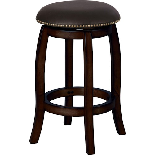 Acme Furniture Chelsea Leather Transitional Espresso Bar Stool with Leather Seat and Nailhead Trim