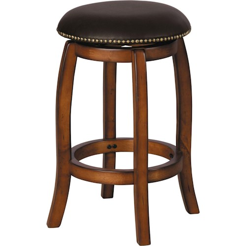 Acme Furniture Chelsea Leather Transitional Vintage Oak Bar Stool with Leather Seat and Nailhead Trim