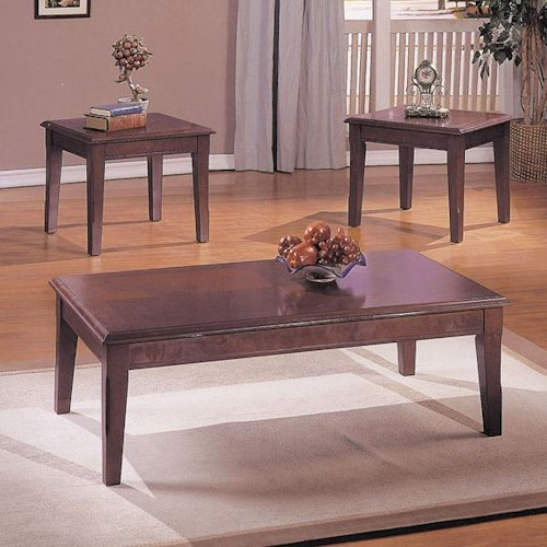 Acme Furniture Chester Merlot 3-Piece Set with Coffee Table and 2 End Tables