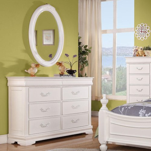 Acme Furniture Classique Traditional Double Dresser and Oval Mirror Combo