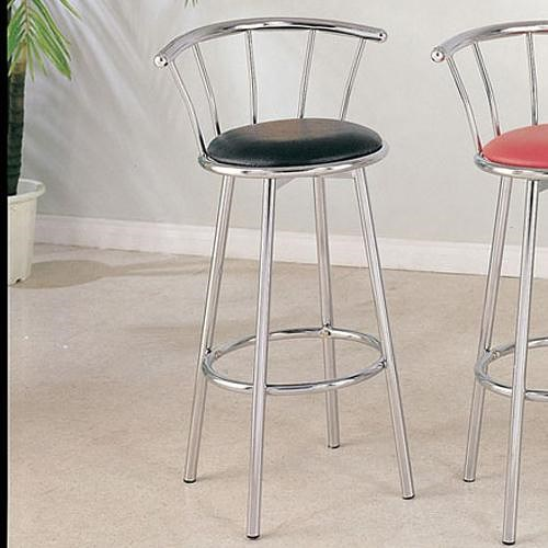 Acme Furniture Cucina Chrome Swivel Bar Stool with Black Seat