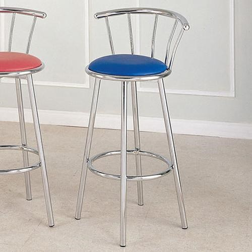Acme Furniture Cucina Chrome Swivel Bar Stool with Blue Seat