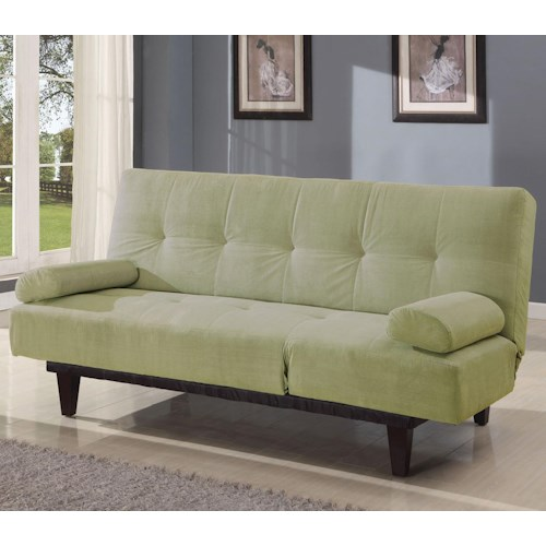 Acme Furniture Cybil Apple Green Adjustable Sofa Futon With 2 Pillows