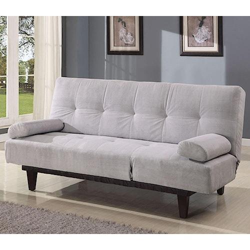 Acme Furniture Cybil  Silver Adjustable Sofa Futon With 2 Pillows