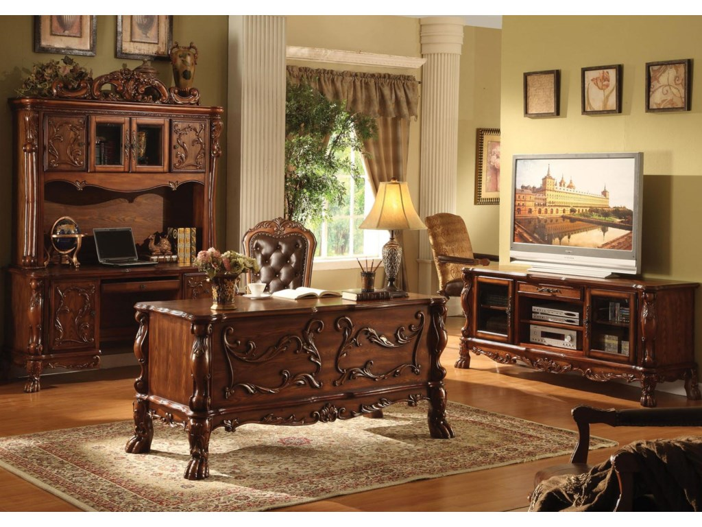 Shown in Room Setting with Bookcase and Television Console