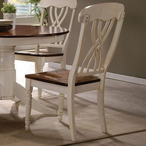 Acme Furniture Dylan Cottage Lattice-back Side Chair in Buttermilk