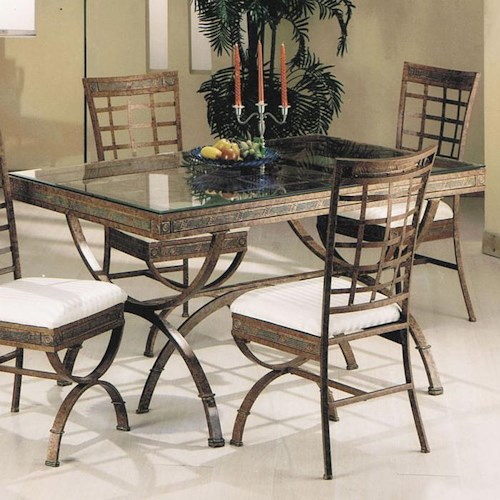 Acme Furniture Egyptian Rectangular Dining Table with Glass Table Top