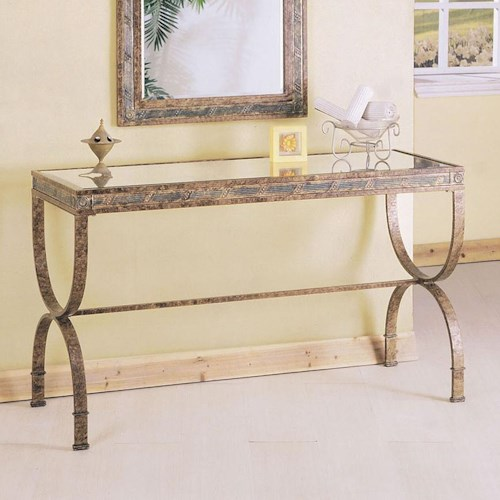 Acme Furniture Egyptian Rectangular Console Table with Glass Table Top