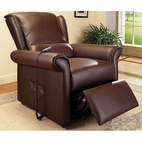 Acme Furniture Emari Dark Br Pu Electric Lift Recliner Seat