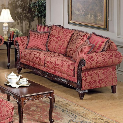 Acme Furniture Fairfax Magenta Traditional Stationary Sofa
