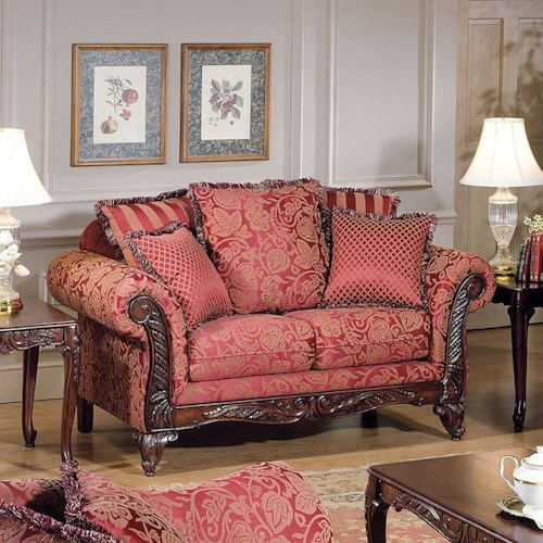 Acme Furniture Fairfax Magenta Traditional Exposed Wood Loveseat