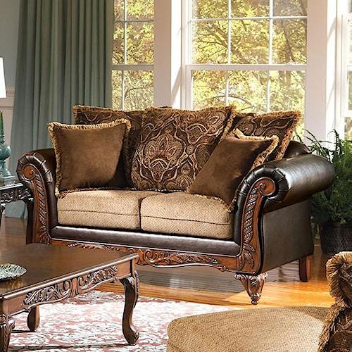Acme Furniture Fairfax Splurge Traditional Exposed Wood Loveseat