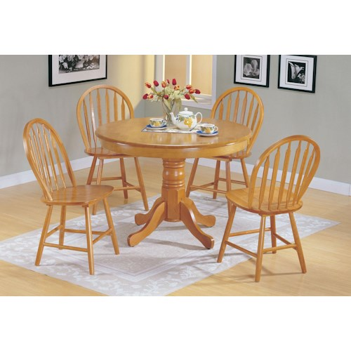 Acme Furniture Farmhouse Oak 5-Piece Dining Set with Round Pedestal Table and Arrowback Chairs