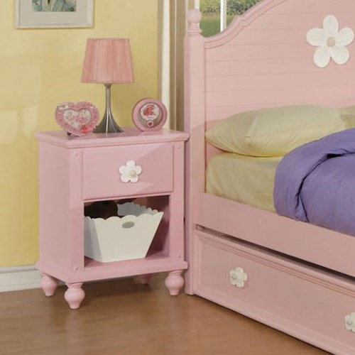 Acme Furniture Floresville Pink Nightstand with White Flowers