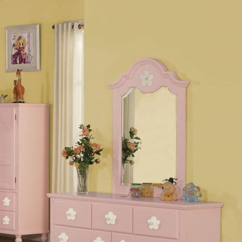 Acme Furniture Floresville Pink Dresser-top Mirror with Flower Detail