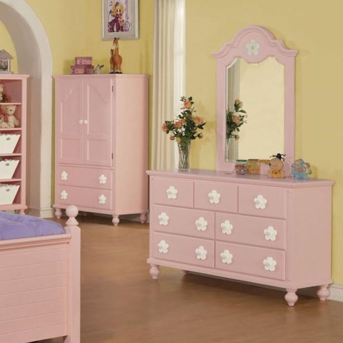 Acme Furniture Floresville Pink Dresser and Mirror Combo