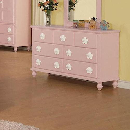 Acme Furniture Floresville Pink Dresser with White Flower Hardware
