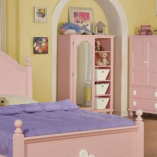 Acme Furniture Floresville Pink Chest with Mirror Door and Shelves